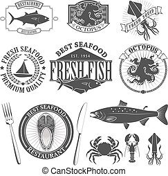 mariscos, etiquetas, conjunto