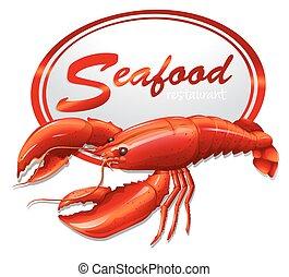 mariscos fresco, com, lagosta