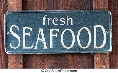 mariscos fresco, restaurante, sinal