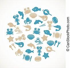 mariscos, iconos