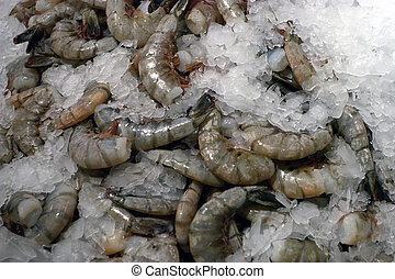 mariscos, -, mercado, camarón