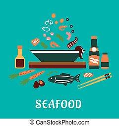 mariscos, plato, ingredientes, ensalada, plano, concepto