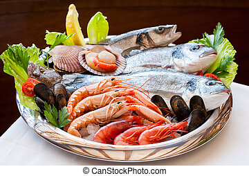 mariscos, platter., apetitoso