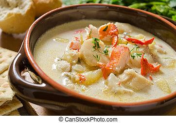 mariscos, sopa de pescado