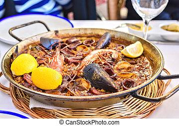 mariscos, -traditional, negro, paella, español, plato, ...