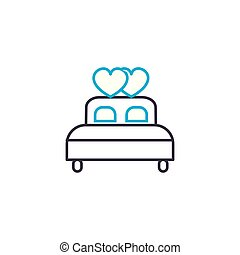 Marital bed linear icon concept. Marital bed line vector...