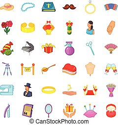 Marital life icons set, cartoon style - Marital life icons...