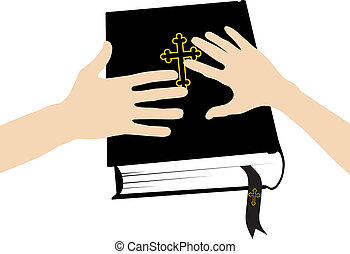 Marital oath on the Holy Bible - vector illustration of two...