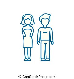 Marital relationship linear icon concept. Marital relationship line vector sign, symbol, illustration.