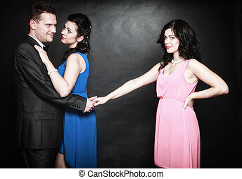 maritale, infedeltà, concept., amore, triangolo, passione,...