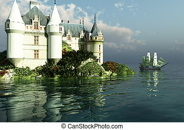 MARITIME - A clipper ship sails past a grand castle.