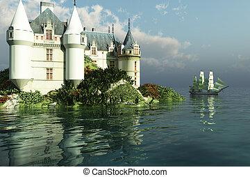 MARITIME - A tall clipper ship sails past a grand castle.