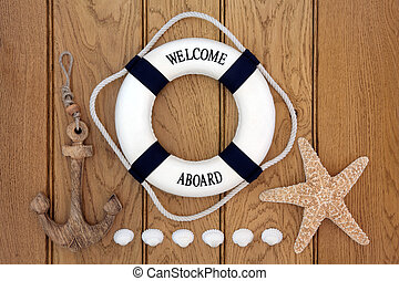 Maritime Abstract - Decorative lifebuoy, wooden anchor, ...