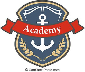 Maritime academy badge with shield and anchor