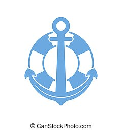 Maritime anchor and lifebuoy icon. Vector illustration