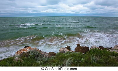 maritime bay - sea waves slow motion