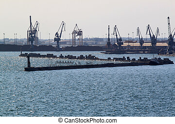 Maritime cranes. Panoramic view of port activity with cargo ships, cranes and containers