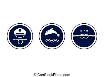 Maritime emblem icon. Vector.