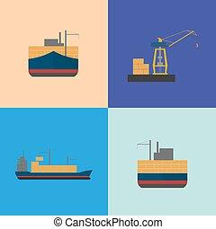 Maritime freight shipping icon set