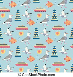 Maritime icons pattern
