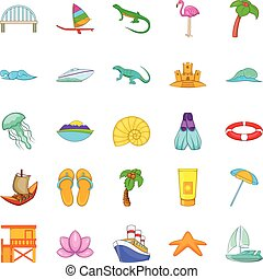 Maritime icons set, cartoon style