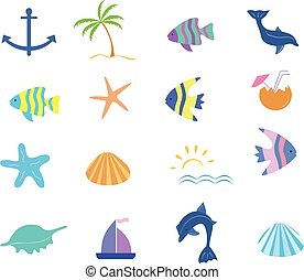 Maritime icons vector set