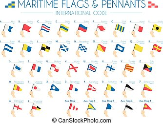 maritime, international, vecteur, pennants, drapeaux, illustration, code