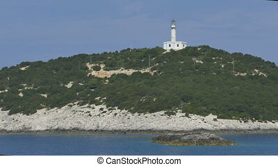 Maritime Lighthouse on Greek Island - View of a Greece...
