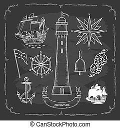 maritime maps - Set elements for design in a Maritime style....