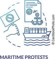 Maritime protest blue concept icon. Freight protection. ...