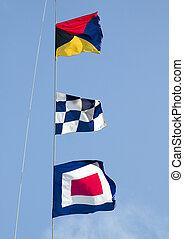 Maritime signal flags - Three international maritime signal...