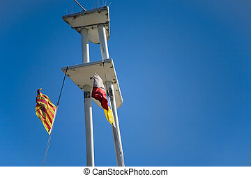 Maritime signal flags - Mast with maritime signal flags...