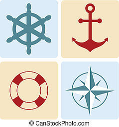 maritime symbols: anchor, life buoy, the wind rose, the ...