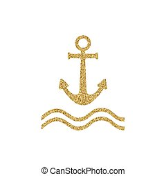 Gold effekt Anchor vector icon. Poster design with nautical theme. Nautical Anchor vector isolated. Anchor shape. Gold glitter design element.