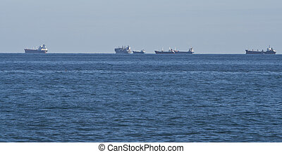 Maritime transport - A row of maritime transport ships at ...