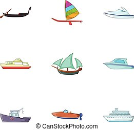 Maritime transport icons set, cartoon style