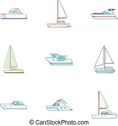 Maritime transport icons set, cartoon style