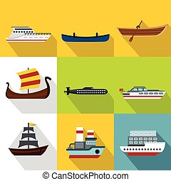 Maritime transport icons set, flat style