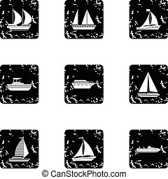Maritime transport icons set, grunge style