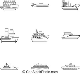 Maritime transport icons set, outline style