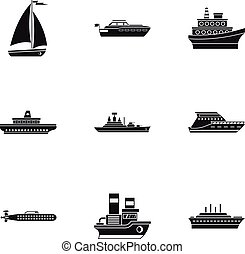Maritime transport icons set, simple style