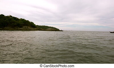 Maritime trip. View of island, boats and sea - Maritime...