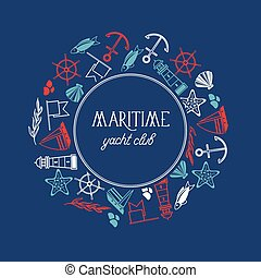 Maritime Yacht Club Round Frame Poster