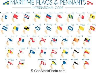marittimo, internazionale, vettore, pennants, bandiere, illustrazione, codice