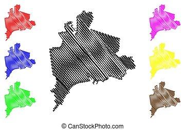 Mariupol City (Ukraine, Donetsk Oblast) map vector illustration, scribble sketch City of Zhdanov map