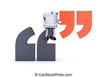 mark., 3d, robot, illustration, citation