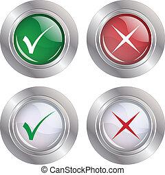 mark-cancel, botão, cheque