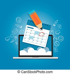 mark, cirkel, jouw, kalender, agenda, online, wolk, planning, draagbare computer