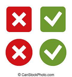 mark, controleren, buttons., stickers, rood, green.