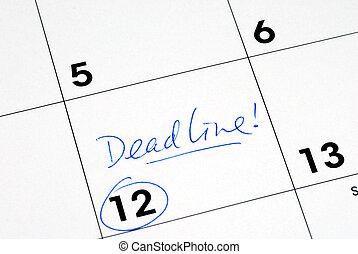 mark, de, deadline, op, de, zakelijk, kalender